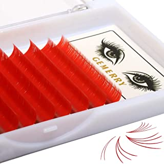 0.07 D Curl Eyelash Extensions, Color Flowering Red Mega Easy Volume Lash Extensions 8-14mm Mix Length 3D 4D 5D 6D 8D Rapid Blooming by GEMERRY