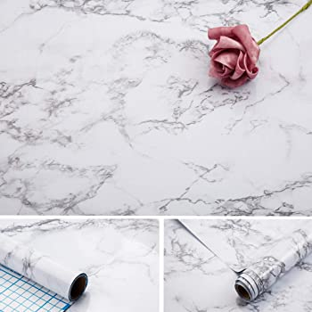 Arthome Marble Paper,17x100 inch Self Adhesive Wallpaper Waterproof Gloss PVC Vinyl, Oil Proof,White/Gray Granite Paper,Marble Vinyl Paper for Furniture Cover Surface,Countertop,Kitchen,Shelf Liner