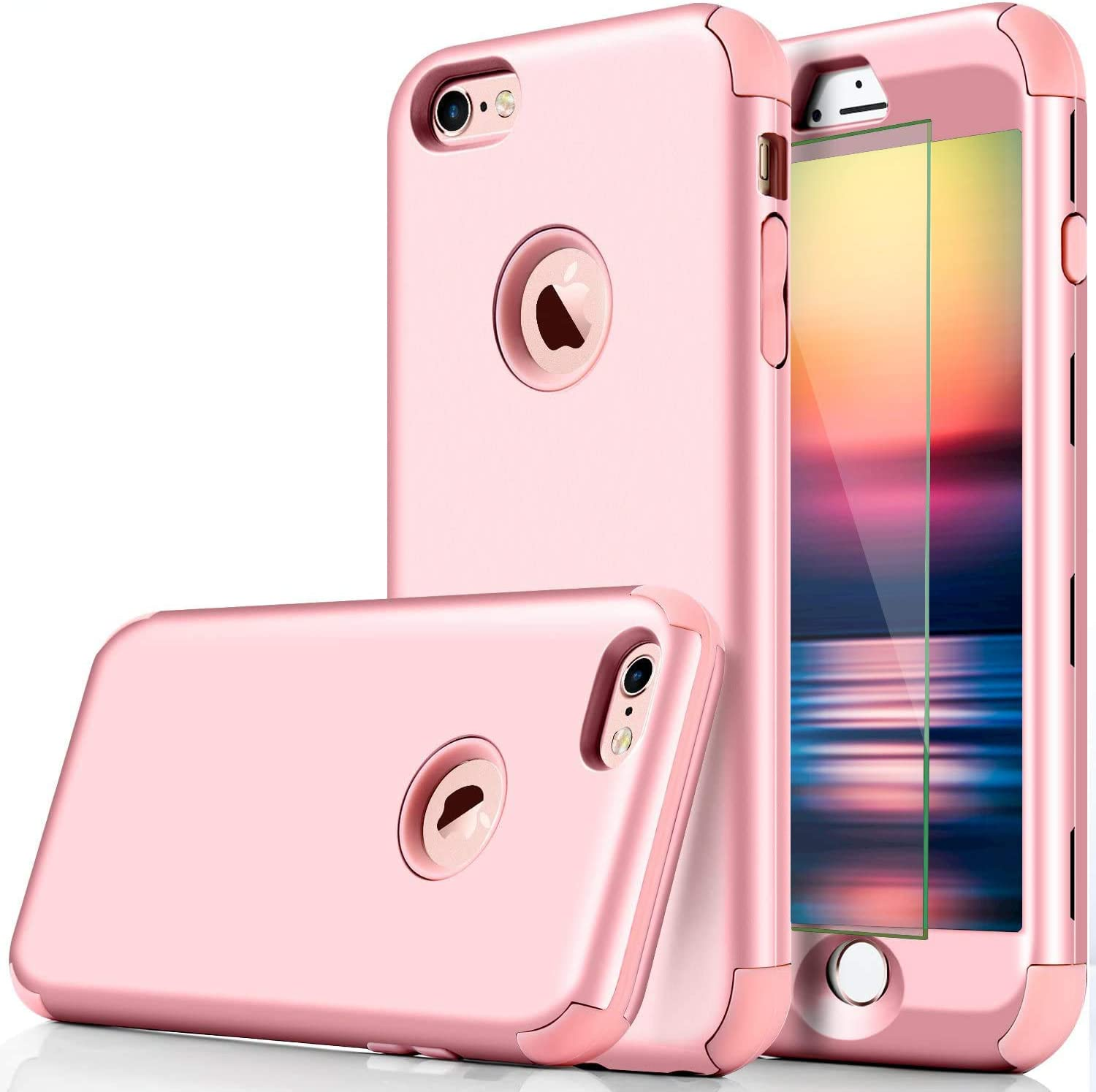 DUDETOP Compatible with iPhone 7 Case/iPhone 8 Case,3-in-1 360 Full Body Shockproof Armor Protective Cover Design with Tempered Glass Screen Protector for Apple iPhone 7/8 4.7