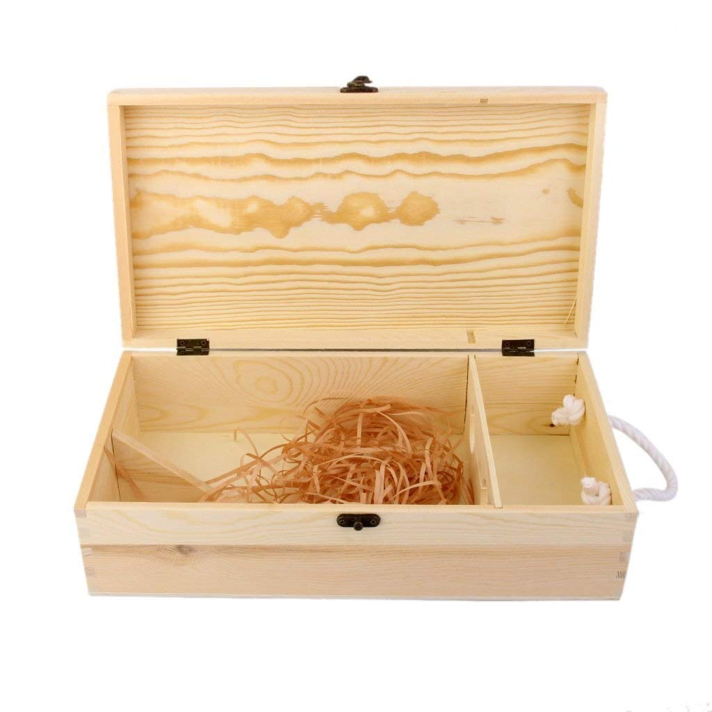 Zclleiyi Caja De Madera De Vino Liso con Tapa Deslizante Y Cuerda  35 X 19 X 10 Cm  Soporte De Madera For Botellas For Decoupage, Almacenamiento, Ornament: Amazon.es: Hogar