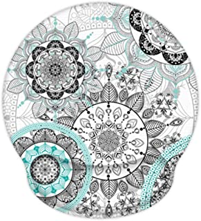 Ergonomic Mouse Pad with Gel Wrist Rest Support, iLeadon Non-Slip Rubber Base Wrist Rest Pad for Home, Office Easy Typing & Pain Relief (Mandala Flowers)