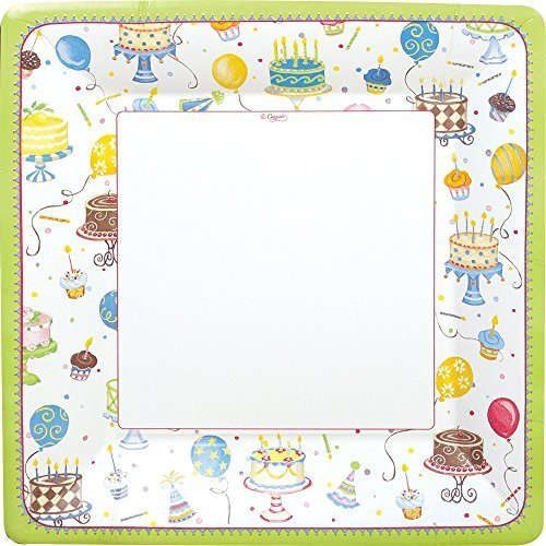 Caspari Entertaining Birthday Cakes Square Dinner Plates, Multicolor, 8-Pack by Caspari