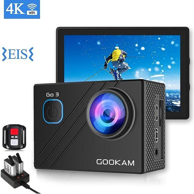GOOKAM Cámara Deportiva 4K 20MP WiFi 170 Amplio ángulo de Visión con Control Remoto 2 Baterías Recargables y Micrófono Externo Kit de Accesorios de Cámara Acción Acuática a Prueba de Agua Kit-GO 3