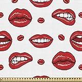 ABAKUHAUS Vintage Tela por Metro, Labios de Mujer en Diferentes Gestos Sensual Triste Nervioso Feliz Femenino, Decorativa para Tapicería y Textiles del Hogar, 1M (148x100cm), Bermellón