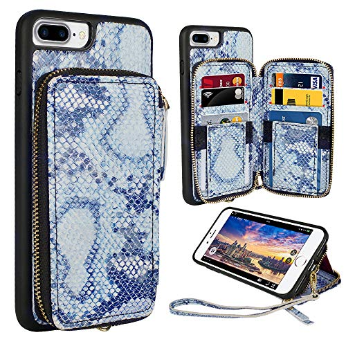 ZVE iPhone 8 Plus Wallet Case,5.5 inch, iPhone 7 Plus Zipper Wallet Case with Credit Card Holder Slot Handbag Purse Wrist Strap Case for Apple iPhone 8 Plus 7 Plus 5.5 inch - Blue Snake Skin