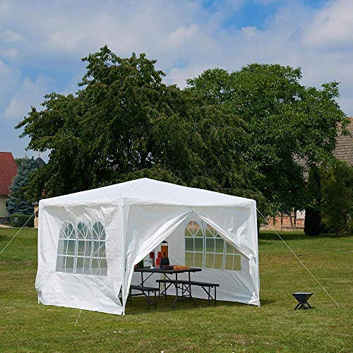 3x4 Commercial Grade 120G PE Warerproof Heavy Duty Gazebo Instant Canopy Marktet Stall Marquee with 4 Removeable Sides Walls Panels Power Coated Steel Frame
