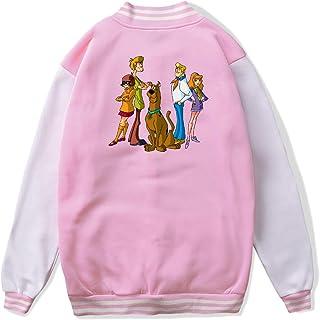 VJJ AIDEAR Cute Scooby Doo Baseball Uniform Jacket Sport Coat Kids Long Sleeve Hoodie Pullover Black