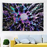 PROCIDA Trippy Tapestry Psychedelic Moon Forest Tree Colorful Wall Art for Ceiling Dorm Bedroom Living Room College Nails Included 60'W x 40'L, Trippy Tree