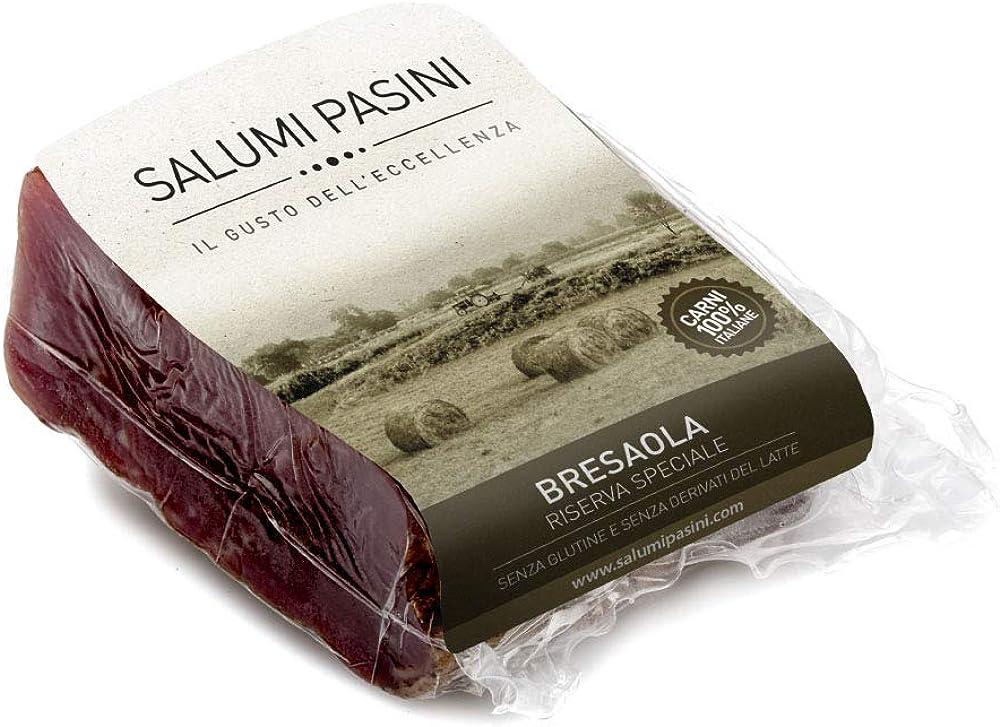 Salumi pasini bresaola di suino massaggiata a mano con vino bonarda doc trancio da 250 gr carne 100% italiana