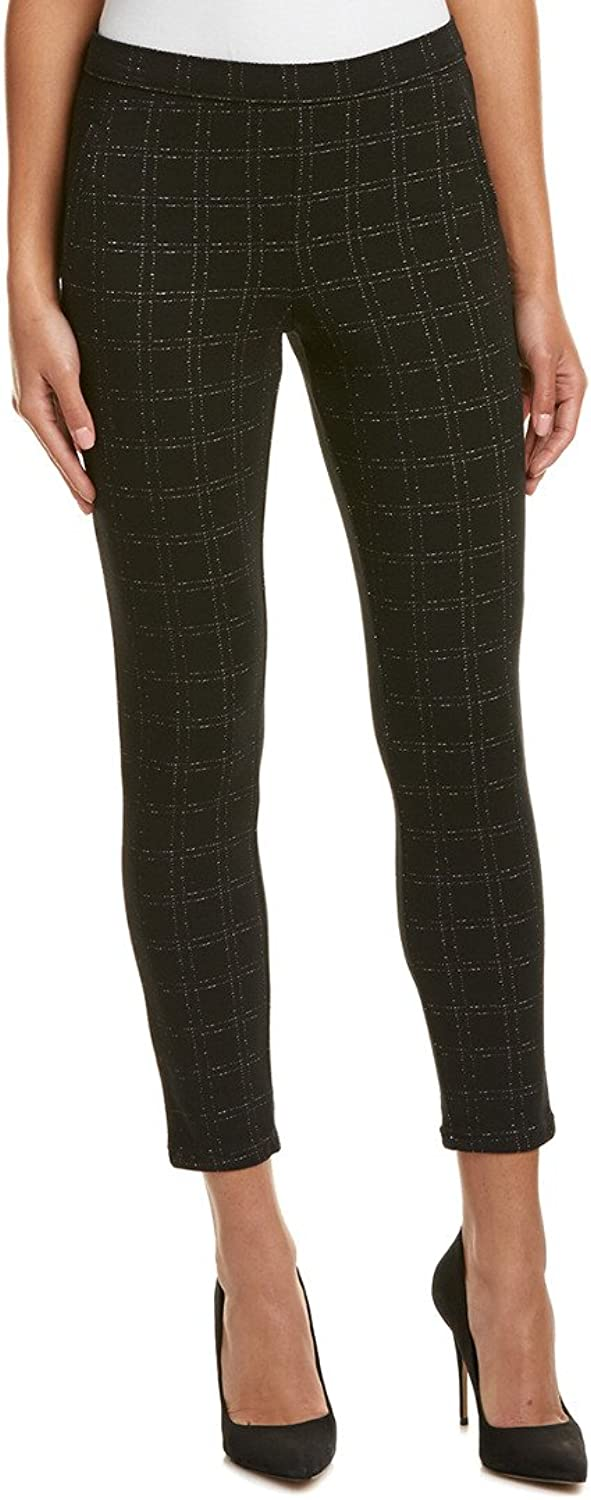Hue Womens Checkered Stretch Ankle Pants Black