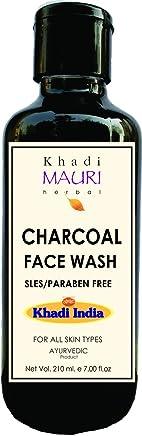 Khadi Mauri Herbal Charcoal Face Wash - Fairness & Skin Whitening + Oil Control & Anti Acne - SLES & PARABEN Free - 210 ml