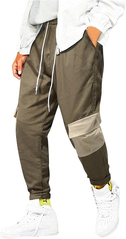 Beshion Men's Casual Comfy Shorts Baggy Gym Sport Jogger Sweat Long Pants Bodybuilding Pocket Patchwork Drawstring Trousers