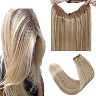 """LaaVoo 16"""" Adjustable Invisible Wire Halo Hair Extensions Highlight Color #18 to Color #22 Blonde Flip on Invisible Double Weft Human Hair Extension 80g…"""