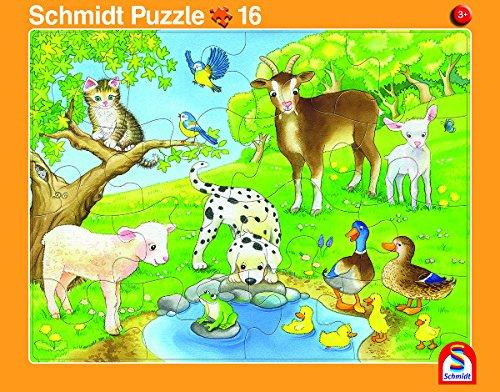 Schmidt Spiele 2er-Set Rahmenpuzzle Tierfamilie und Tierkinder 16+24 Teile