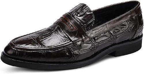 MKJYDM zapatos de Cuero con Punta de Hombre, patrón de Piedra, Vestido de Negocios, zapatos de Hombre, zapatos Bajos cómodos, 37-44 Yardas (Color   negro, Talla   38 EU)