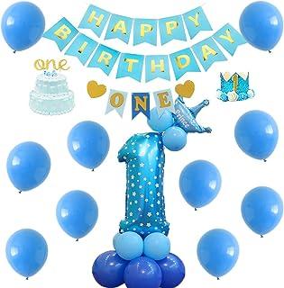 1歳誕生日飾り パーティー飾り付け ブルーゴールド HAPPY BIRTHDAYバナー ONEハイチェアバナー クラウンハット ケーキトッパー 男の子 1歳お祝い飾り付け 部屋装飾