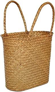 Straw Weave Wicker Storage Basket Shopping Picnic Bag for Kitchen Neatening Sundries Decorative Flower Baskets Gift Panier Osier,L045