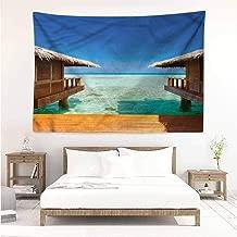 Living Room Tapestry,Beach Bungalows on The Maldives,Stylish Minimalist Fresh Style,W23x19L
