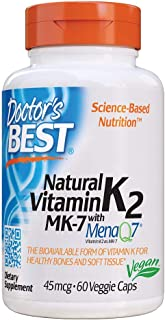 Doctor's Best Natural Vitamin K2 MK-7 with MenaQ7, Non-GMO, Vegan, Gluten Free, Soy Free, 45 mcg Veggie Caps White No Flav...