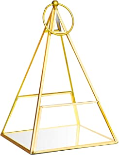 Banord Goldern Tabletop Geometric Terrarium, 5.5 x 5.5 x 10.4 inches Pyramid Metal with Glass Succulents Terrarium Container, Hanging Air Planter Jewelry Wedding Decor Flower Candle Lantern Holder