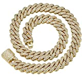 CHXISHOP Collar de Hip Hop para Hombre, 12 mm, Barra de Doble Fila, circón, Cadena Cubana, Collar de Cierre de Caja de circón con Incrustaciones de Cobre gold-45cm
