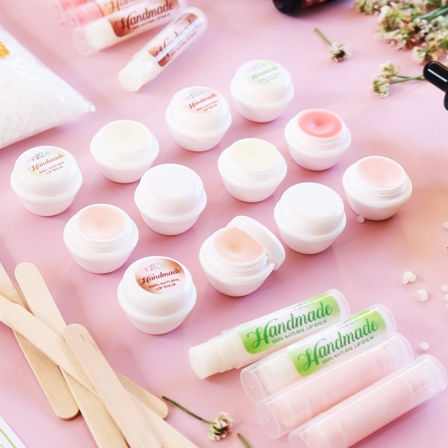 Ultimate Lip Balm Making Kit 20  Piece Set   All Natural Formula With  Beeswax, Shea Butter, Almond Oil+ 20 Rich Flavors to Create 20 Lush Lip  Balms   ...