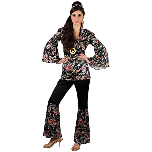 81200afbf2 Peace Hippie Ladies Costume 1960s Groovy Retro Womens 60s 70s Fancy Dress  Outfit