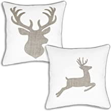 Deer Head and Elk Cotton Throw Pillow Covers Embroidered 18x18 Inches for Couch Cushions Covers 2 Pack (White)