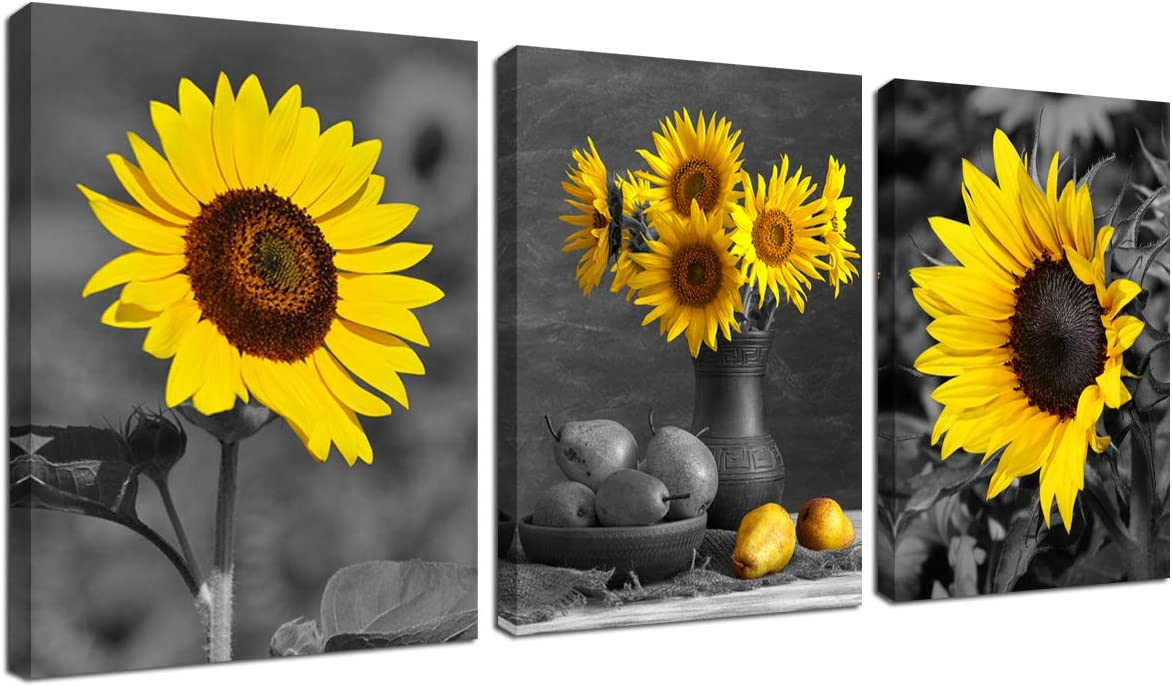 Amazon Com Sunflower Decor Framed Wall Art Black And White Yellow Flowers Painting Home Office Farmhouse Picture Hanging Kitchen Bedroom Living Room Decoration Canva Print 12 X16 3 Piece Modern Artwork Posters