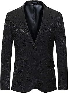 HX fashion Men's Blazer Two Button Printed Slim Fit Lapel Suit Comfortable Sizes Jacket Blazer Men Casual Business Men Men...