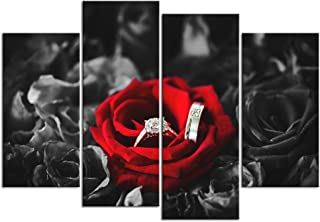 sechars - Black White and Red Wall Art Wedding Rings on Red Roses Poster Canvas Print Stretched Ready to Hang Romantic Picture for Bedroom Wall