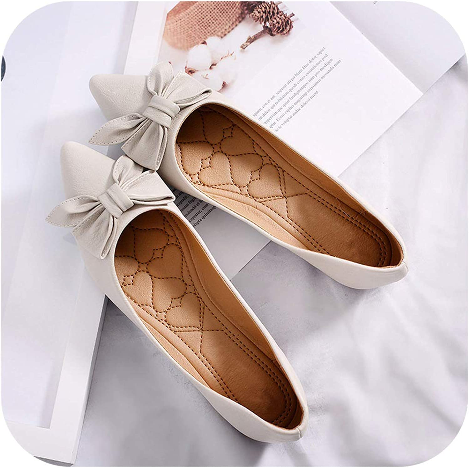 Fashion Boat shoes Women Soft Leather Casual shoes Pointed Toe Flats Office Ladies Brand Footwear Big Size