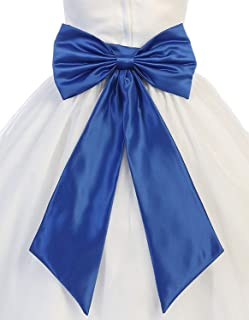 Sash Belt for Flower Girl Dresses with Big Bow Stain...