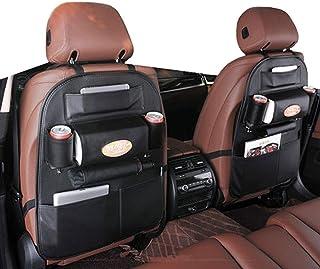 2 Pack PU Leather Premium Car SeatBack Organizer Travel Accessories, Car Seat Back Organizer Seat Protector/Kick mats Back...