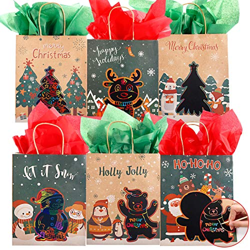 TOMNK 12 Christmas Gift Bags Kraft Bags Bulk Medium Goody Bags with 12 Tissue Paper and Wooden Pens for DIY, Favor Bags, Party Supplies
