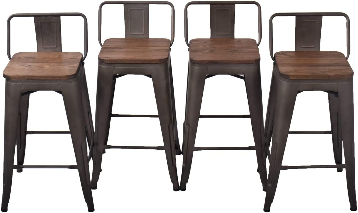 Bar Stools Set of 9 Counter Height Metal Bar Stools with Back Bar Stool  with Wooden Seat for Kitchen Island 29 inch, Rusty