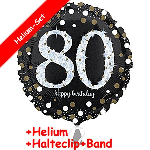 Carpeta Folieballon, getal 80 Happy Birthday, helium vulling + clip + band, voor de 80e verjaardag, folies ballon party, helium, decoratie, ballongas, motto 80 acht jaar, felicitatie