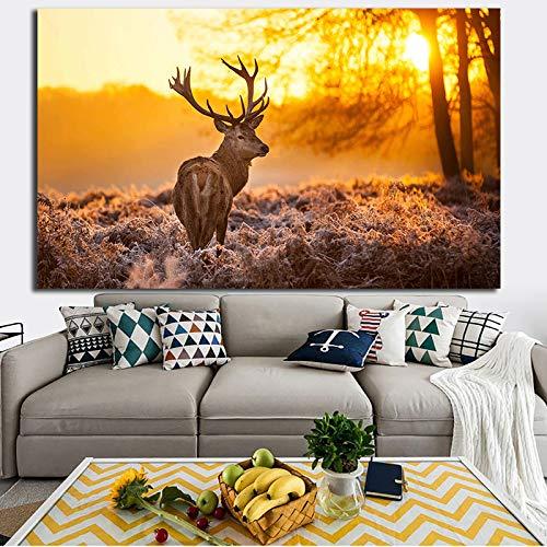Wildtier Rentier Leinwand Malerei Wandkunst Wohnzimmer Sofa Poster Home Dekoration,Rahmenlose Malerei,40X60cm