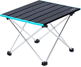 Naturehike Portable Camping Side Tables with Aluminum Table Top: Hard-Topped Folding Table in a Bag for Picnic, Camp, Beac...