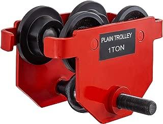 BestEquip Heavy Duty Manual Trolley 1Ton Capacity Plain Trolley 2200LBS Push Beam Track Roller Trolley Crane Lift Dual Wheels Garage Hoist for Straight Curved I Beam