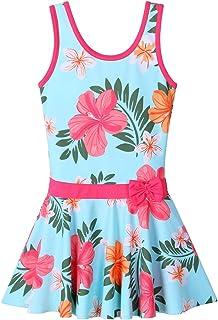 BAOHULU Big Girls' One Piece Swimsuit Cute Floral Dress Swimwear