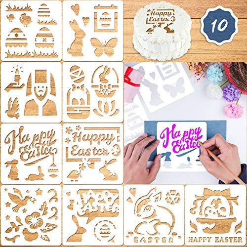 Qpout Ostern Schablonen Vorlagen, 10 Blatt Wiederverwendbare Schablonen zum Malen auf Holz, Religiöse Ostereier Hase Frohe Ostern Schablonen für Basteln Kekse Kuchen Osterfeier Dekoration