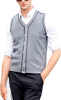 Zhhlinyuan Mens Middle-Aged Comfortable Wool Knitted Jumper Vest Waistcoat
