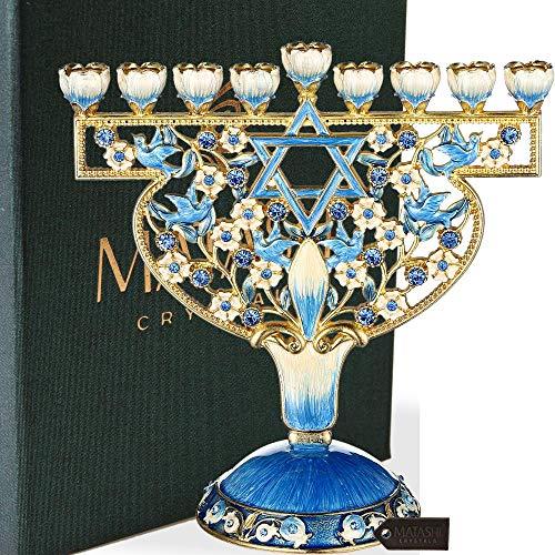 Matashi handbemalter Menorah-Kandelaber verziert mit goldenen Akzenten und Kristallen, jüdischer Kerzenhalter Chanukka dove