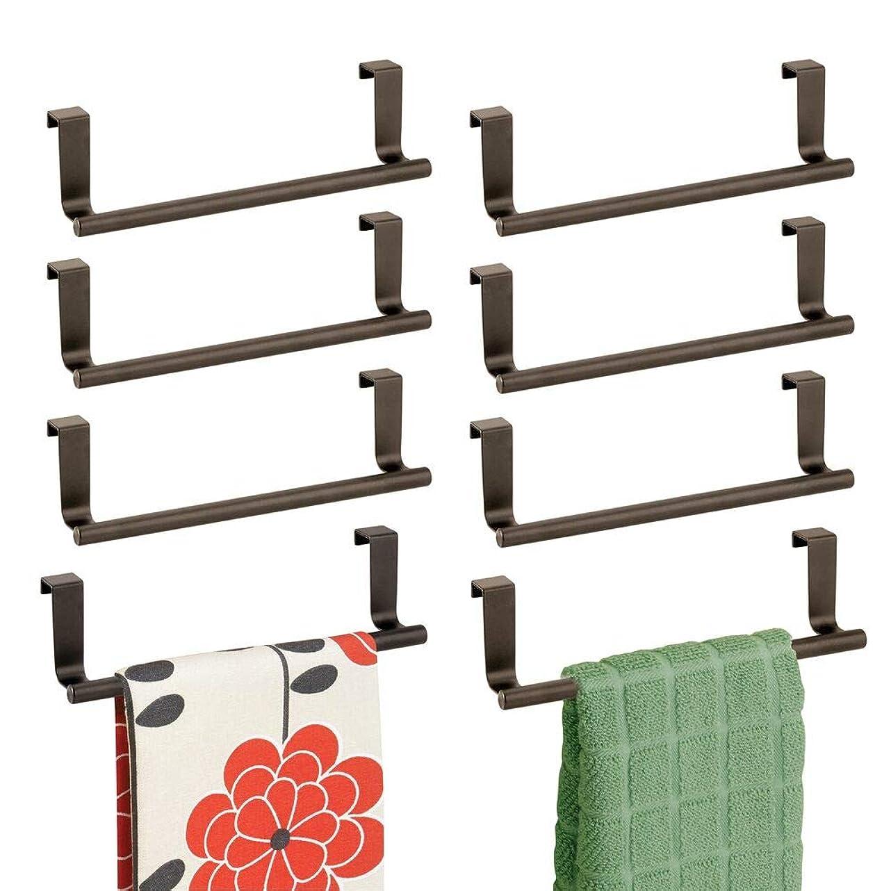衝突水没閉じるmDesign 装飾メタルキッチンオーバー キャビネットタオルバー - ドアの内側または外側に掛け、ハンド、ディッシュ、ティータオル - 幅9インチ 8パック - ブロンズ