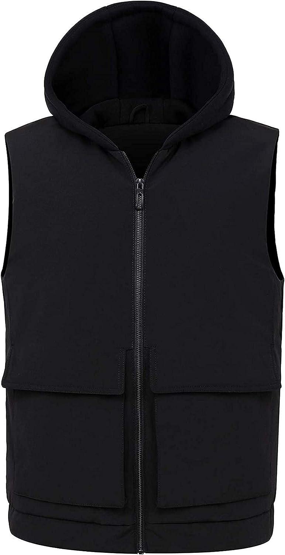 Men's Active Un-Removable Knit Hooded Zipper Down Alternative Vest Jacket