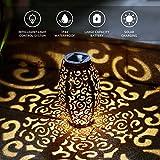 Lanterne solaire pour l'extérieur,lanterne suspendue de jardin solaire, décor de jardin extérieur lampe de projection en fer forgé à feuilles, pour patio, extérieur ou table (nuage)
