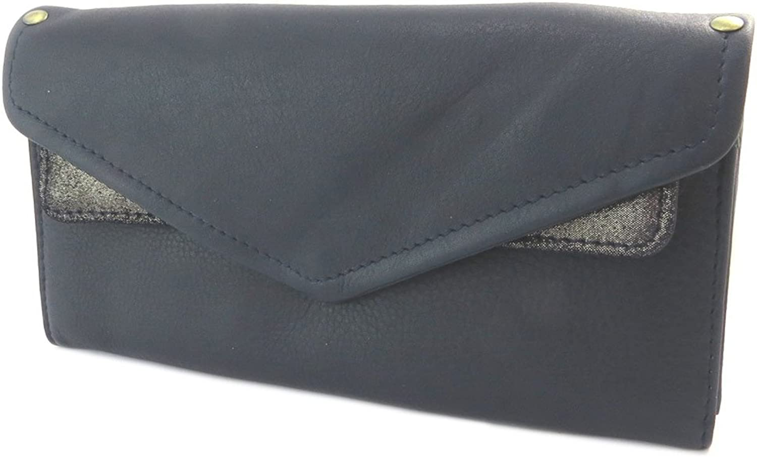 Anaik [P4327]  Leather mate 'Anaik' navy bluee gold (double compartments) 20x10x1.5 cm (7.87''x3.94''x0.59'').