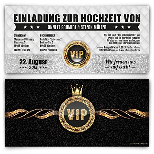 Einladungskarten zur Hochzeit (20 Stück) VIP Ticket Gold edel Krone Einladung Karte