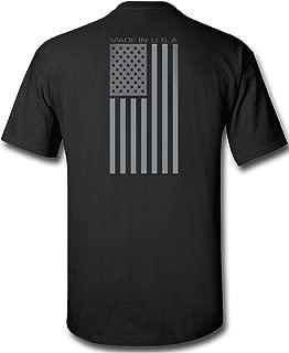 Black Made USA Flag Subdued Banner Print T-Shirt
